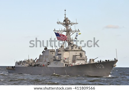 KLAIPEDA,LITHUANIA-JULY 17:military ship USS JASON DUNHAM in port Klaipeda on July 17,2015 in Klaipeda,Lithuania.USS Jason Dunham is an Arleigh Burke-class destroyer in the United States Navy.