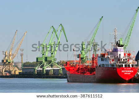 KLAIPEDA,LITHUANIA-JULY 03:view of the harbor with ships on July 03,2015 in Klaipeda,Lithuania.Klaipeda - city in Lithuania situated at the mouth of the Dan. River where it flows into the Baltic Sea.