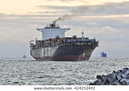 KLAIPEDA,LITHUANIA- JUNE 19:containership MSC CHARLESTON in the Baltic sea on June 19,2015 in Klaipeda,Lithuania.The ship MSC CHARLESTON is a Container ship registered in Hamburg,Germany.