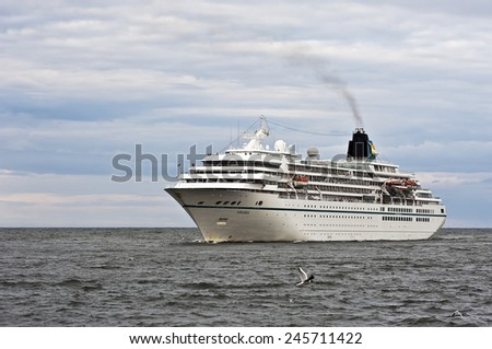 KLAIPEDA,LITHUANIA-JUNE 26 cruise liner AMADEA in the Baltic sea on June 26,2012 in Klaipeda,Lithuania.MS Amadea is a cruise ship owned by Amadea Shipping Company.  - stock photo