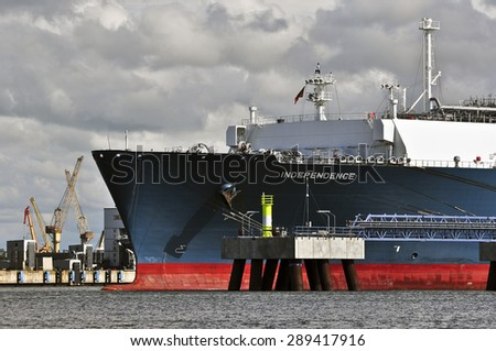 KLAIPEDA,LITHUANIA- JUNE 19:The liquefied-natural-g as (LNG) ship Independence in Klaipeda port on June 19,2015 in Klaipeda,Lithuania.