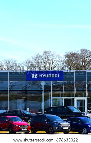 KLAIPEDA,LITHUANIA-MAY 12: HYUNDAI cars showroom and logo  on May 12,2017 in Klaipeda,Lithuania.