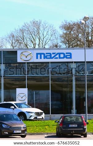KLAIPEDA,LITHUANIA-MAY 12: MAZDA cars showroom and logo  on May 12,2017 in Klaipeda,Lithuania.
