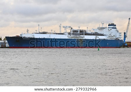 KLAIPEDA,LITHUANIA- MAY 18:The liquefied-natural-g as (LNG) ship Independence in Klaipeda port on May 18,2015 in Klaipeda,Lithuania.