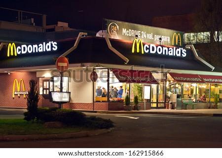 Klaipeda, Lithuania - NOVEMBER 14: McDonald's Restaurant on November 14, 2013 in Klaipeda, Lithuania. McDonald's is the main fast-food restaurant. - stock photo
