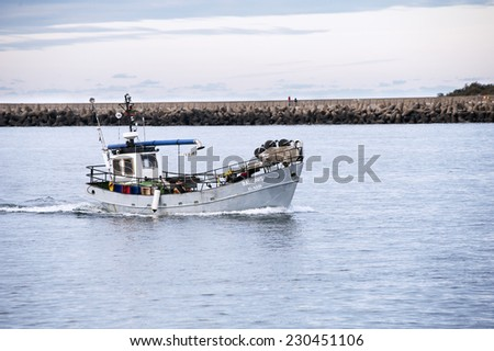 KLAIPEDA, LITHUANIA- OCT 31:fishermen out to sea on October 31,2014 in Klaipeda, Lithuania.
