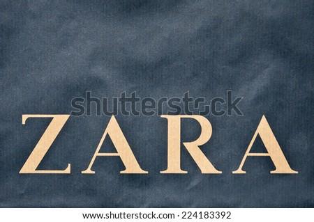 KLAIPEDA,LITHUANIA-OCT 16: ZARA logo on October 16,2014 in Klaipeda,Lithuania.Zara is an Spanish clothing and accessories retailer.