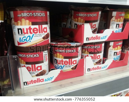 Klang , Malaysia - 15th December 2017 : View of Nutella Ferrero & Go display on the shelf in supermarket.