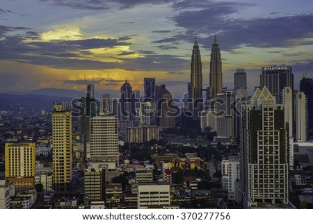 KLCC Towers with Colourful Background Clouds Circa January 2015