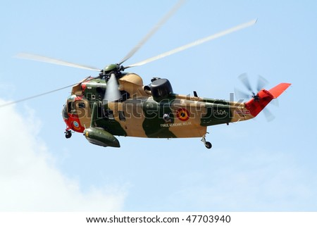 KLEINE BROGEL, BELGIUM - JULY 20: Belgium Air Force Sea King rescue helicopter. Belgium Spotterday July 20, 2005 in Kleine Brogel, Belgium - stock photo