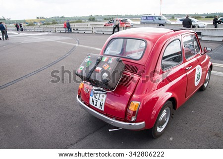 KLETTWITZ, GERMANY - September 26 2015: old-timer with suitcase on the rear - stock photo