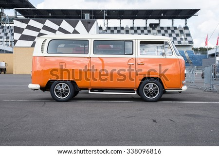 KLETTWITZ, GERMANY - September 26 2015: VW Bully T2, the cult car of the Hippie generation and it remained the status vehicle of the high wave surfers. - stock photo