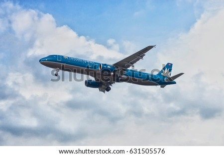 KLIA , Malaysia - 30th April 2017 ; Vietnam airlines on landing approach