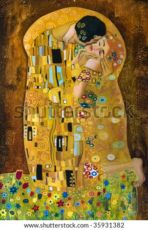 klimt inspired abstract art, batik painting on the grounds of Gustav Klimt - stock photo