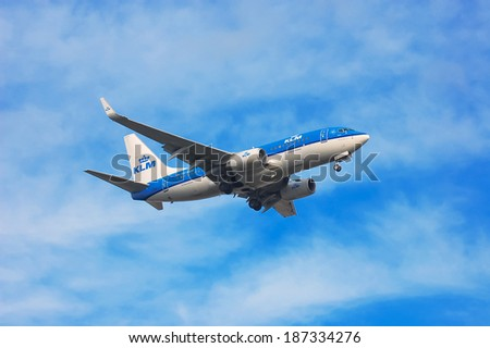 KLM Royal Dutch Airlines Boeing 737�¬-7K2(WL) - PH-BGH landing, Ukraine, Boryspil International Airport, November, 10, 2013