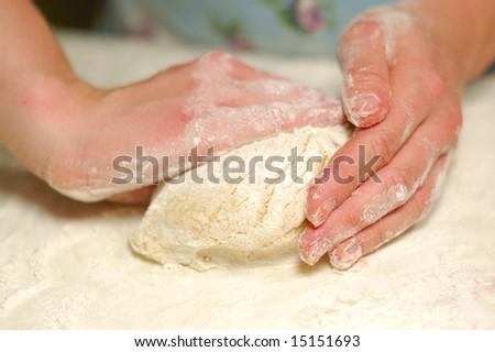 kneading dough - stock photo