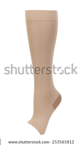 Knee-high medical compression stockings isolated on white background. For the treatment of varicose veins. - stock photo