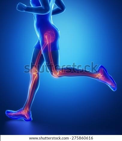 Knee, hip, ankle - running man leg scan in blue - stock photo