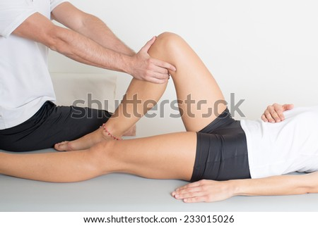 knee injure - stock photo