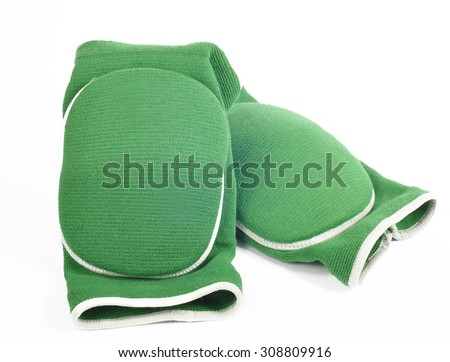 Knee pads green on white background