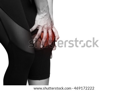 knee pain on white background