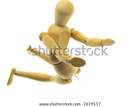 Kneeling wood mannequin on a white background - stock photo