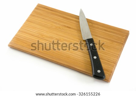 Knife and wooden cutting board, Ready to cooking.