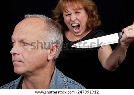 Knife Attack Woman - stock photo