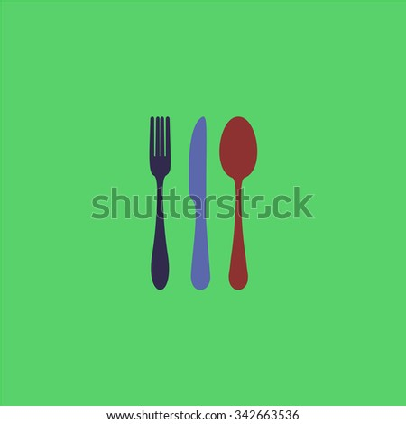 Knife, fork and spoon. Colorful retro flat icon