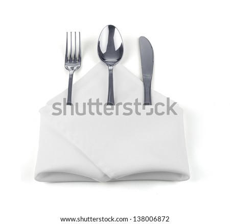 knife, fork and spoon on white - stock photo
