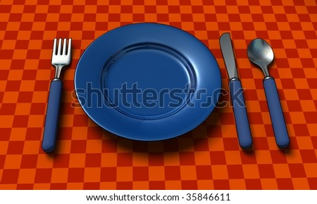 knife, fork, spoon and plate with table coth - 3d render