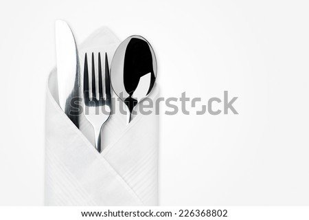 Knife, Fork, Spoon isolated on white background. - stock photo
