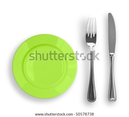 Knife, green plate and fork isolated - stock photo