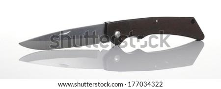 Knife Pocket on Glossy floor - stock photo