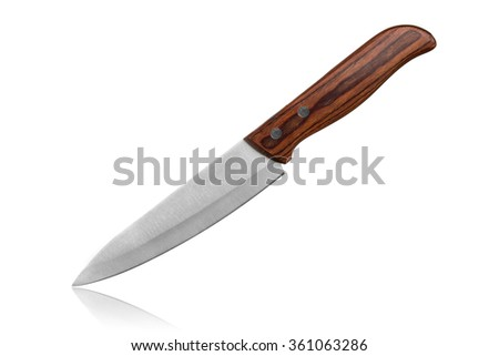 Knife with wooden handle isolated on white - stock photo