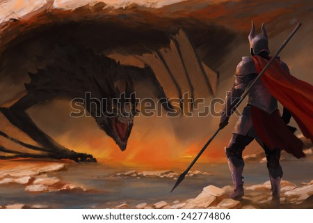 knight and a dragon - stock photo