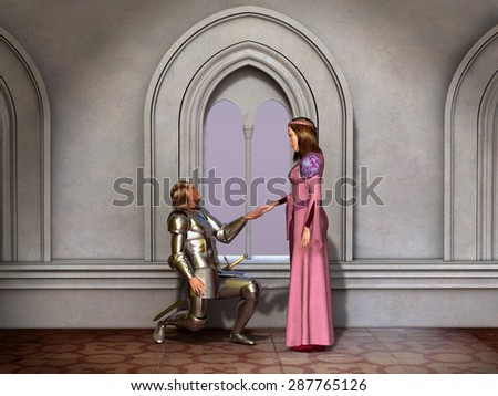 Knight and Princess - stock photo