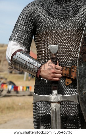 Knight and sword - stock photo