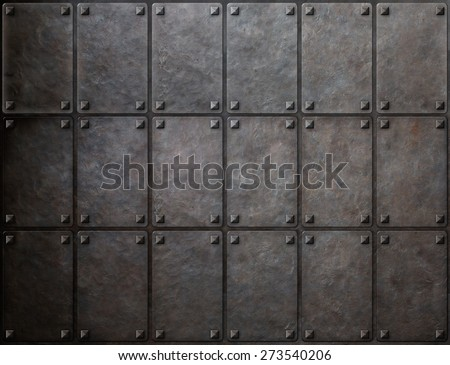 knight armor metal texture with rivets background - stock photo