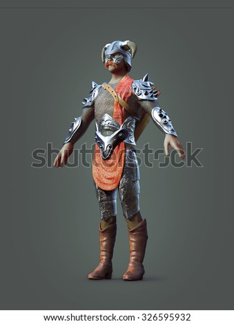 Knight character isolated. Front view render.
