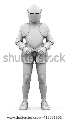 Knight in armor isolated on white background. Metal armor. Matte armor. Medieval armor. 3d render image - stock photo