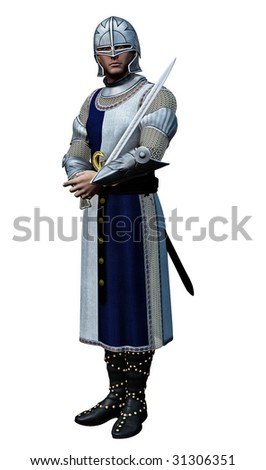Knight In Shining Armour (3D render) - stock photo