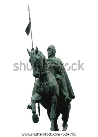 Knight - isolated shot of statue of King Wencelas - Prague.