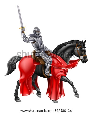Knight mounted on a black horse holding up his sword - stock photo