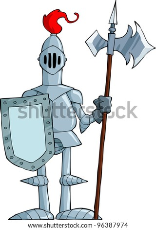 Knight on a white background, raster - stock photo