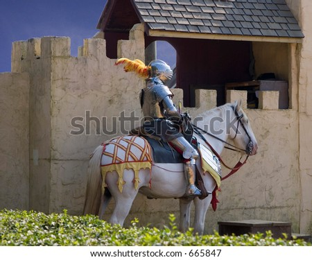 Knight on Horseback - stock photo
