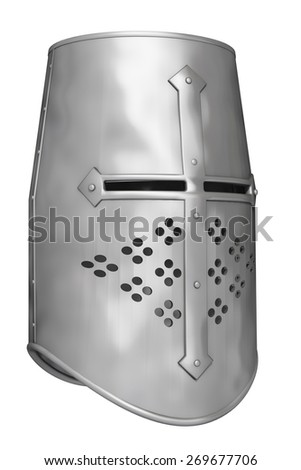 knight's helmet on a white background - stock photo