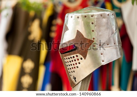 Knight's helmet on color background. - stock photo