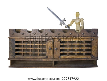 Knight with a sword on top of the battlement - path included - stock photo
