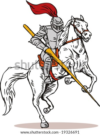 Knight with lance and on horseback - stock photo